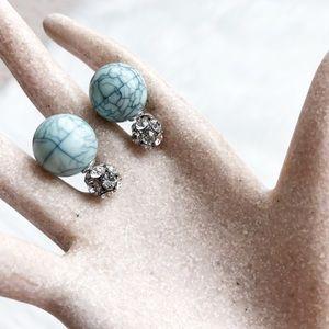 Jewelry - 🎈SALE🎈 Double Sided Blue Earrings NWOT